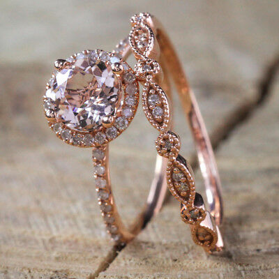 Fashion Women 18K Rose Gold Plated Gemstone Ring Set Wedding Jewelry Size 6-10