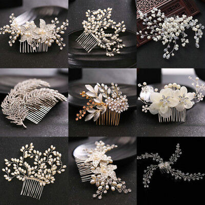Wedding Jewelry Bridal Pearl Flower Crystal Hair Pins Bridesmaid Clips Side Comb