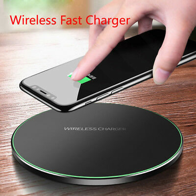 QI Fast Wireless Charger Charging Pad Mat Metal For Apple iPhone XR X 8 Plus UK