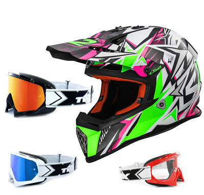 LS2 Crosshelm MX437 Fast Strong weiss grün pink Enduro Helm TWO-X Race Brille