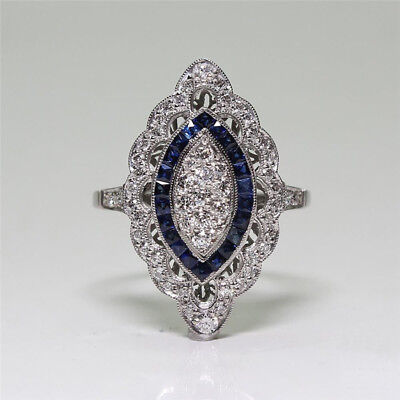 Vintage Art Deco Silver Blue White Sapphire Wedding Jewelry Ring Size 6 -10