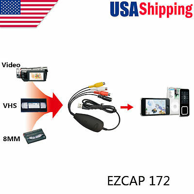 USB Audio Video Grabber Capture Card VHS,8MM,Video Camera Recorder to PC,Win 10