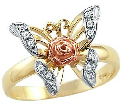 14k Yellow Rose Two Tone Gold Butterfly Flower CZ Cubic Zirconia Ring Size6-10