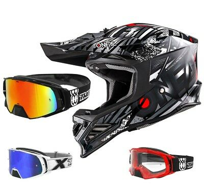 Oneal 8Series Synthy Crosshelm Motocross Helm schwarz TWO-X Rocket Crossbrille