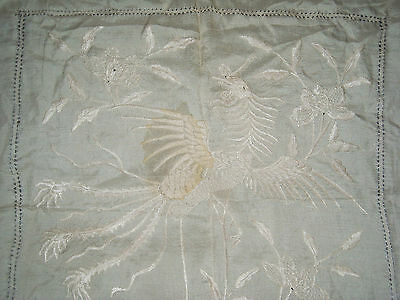 (09) Antique Chinese Embroidery Silk Dragon Square small Tablecloth