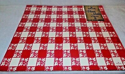 Mid Century Vintage Hallmark Red & White Check Paper Place Mats Pack Set 8 New