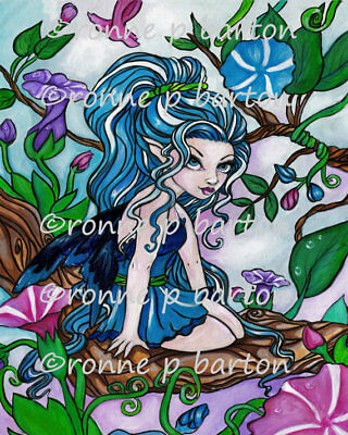 Gloria Flower Cute Big Eye FAIRY original Fine Art PRINT 5x7 - Ronne Barton Art