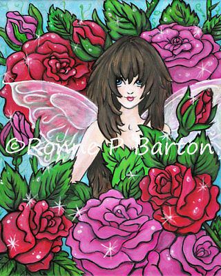Rose Flower Cute Big Eye FAIRY original Fine Art PRINT 5x7 - Ronne Barton Art