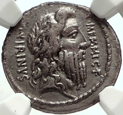 Roman Republic Authentic Ancient 56BC Silver Coin w ROMULUS & CERES NGC i68290