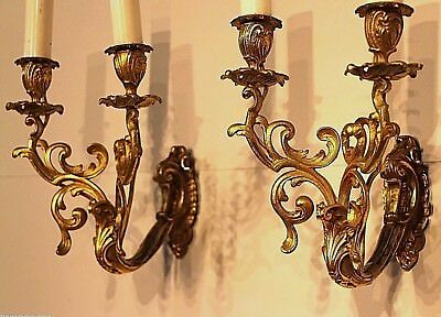 2x French antique gilt bronze ormolu rococo wall lamps lights candelabra sconces