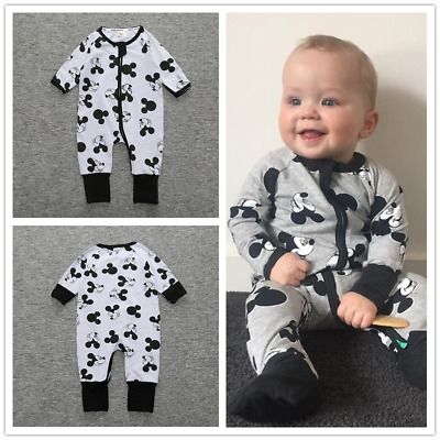 Newborn Boy Mickey Mouse Jumpsuit Long Sleeve Baby Romper Cotton Cartoon Clothes