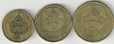 3 UNCIRCULATED COINS from BELARUS - 10, 20 & 50 KOPEEKS (ALL DATING 2009)