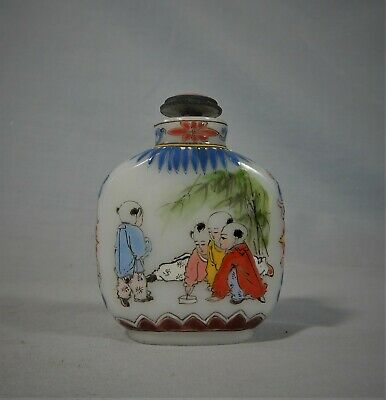 Vintage hand crafted porcelain snuff bottle erotic scene c mid 1900s retired x