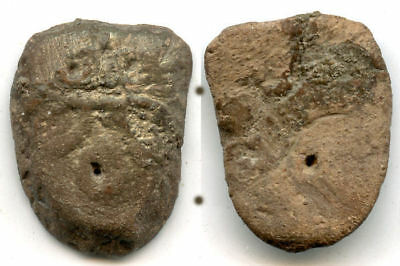 """Rare terracotta funerary """"ant nose money"""" with Ghost face, State of Chu, China"""