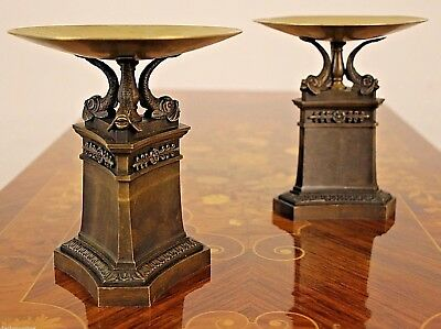 Antique French Empire bronze tazza dish urns large cassolettes Thomire Regency