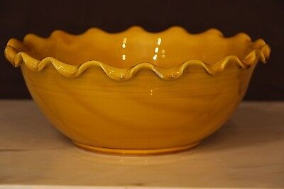 Vintage French provincial sienna glazed bowl signed Vallauris original Anduze