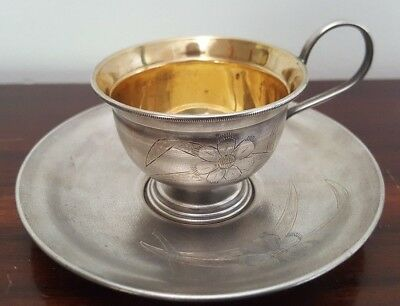 Russian Nickel Silver Gilt Etched Demitasse Cup and Saucer