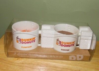 Brand New Dunkin Donuts Scented Candles Set Pumpkin and Coffee in Mini Mugs