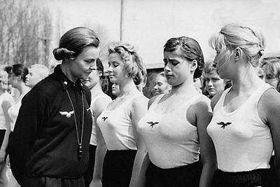 "WWII Photo German Girls Athletic Club  5"" x 7""  WW2 B&W World War Two / 2220E"