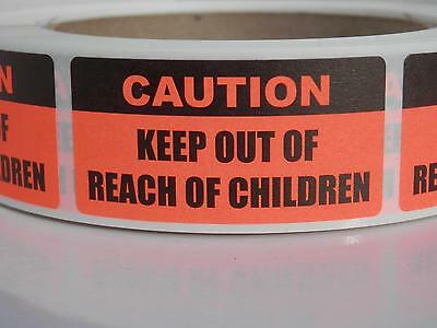 CAUTION KEEP OUT OF REACH OF CHILDREN 1x2 Sticker Label fluor red 250/rl