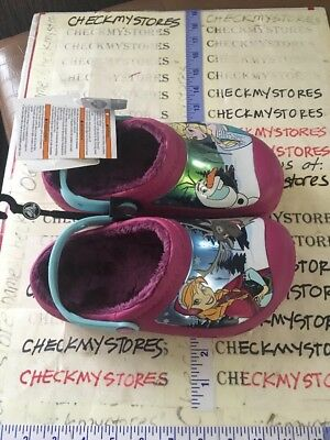 Crocs Cc Frozen Lined Clog Kids 201408-675 Berry Clogs Shoes Girls Youth Size 3