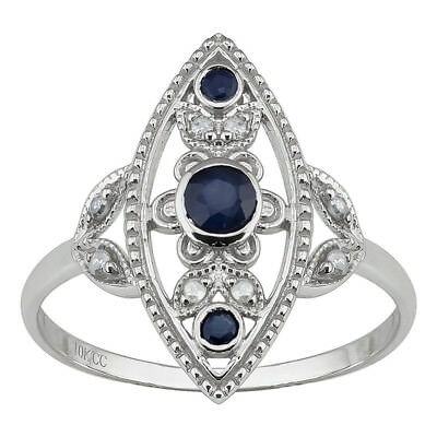 10k White Gold Antique Style Genuine Round Sapphire and Diamond Ring size 6-10