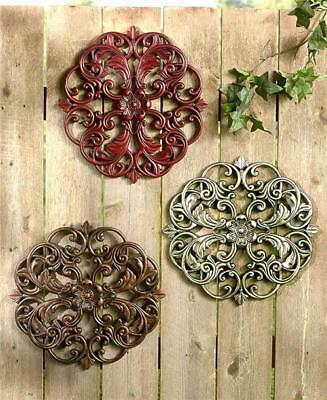 Indoor Outdoor Antiqued Carved-Wood Look Textured Medallion Wall Hanging-3 Color