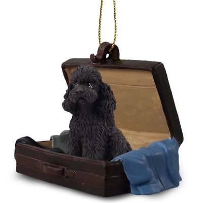 Poodle Black Sport Cut Traveling Companion Dog Figurine In SuitCase Ornament