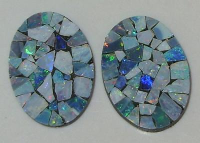 8.51ct Pair Australia Opal Mosaic Doublet Ovals 18x13mm SPECIAL