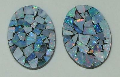 9.11ct Pair Australia Opal Mosaic Doublet Ovals 18x13mm SPECIAL