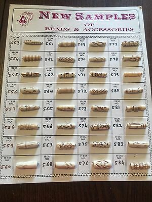 Vintage Nos Ethnic Carved Boone Sample Bead Card A 32 Pcs Lot