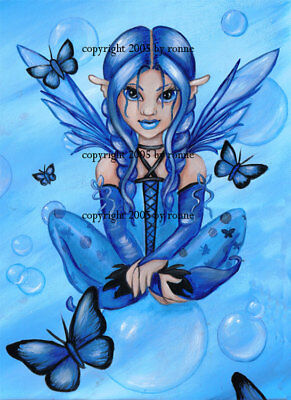 The Blue Fairy Big Eye Fantasy original Fine Art PRINT 5x7 - Ronne Barton Art