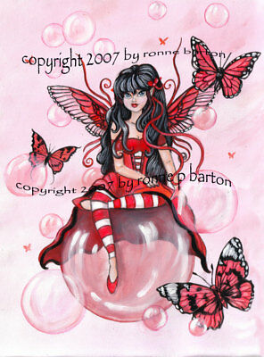 The Crimson Fairy Big Eye Fantasy original Fine Art PRINT 5x7 - Ronne Barton Art