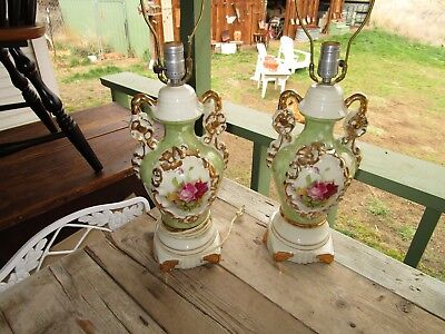 Pair Of Vintage Victorian Style Table Lamps Pink Roses