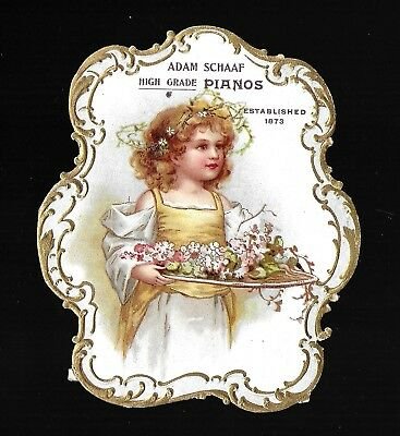 Angelic Little Girl-SUPERB Diecut Victorian Trade Card-Lots of Gold Embossing