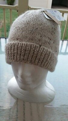 Hand Knitted Alpaca and Wool Mens or Womens Beanie Natural Colour