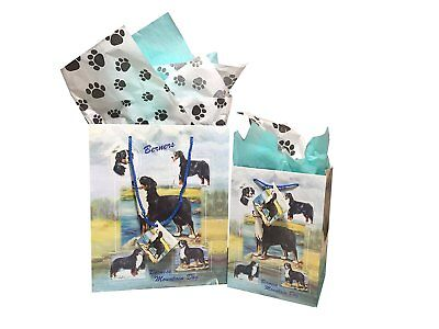 New Bernese Mountain Dog Breed Gift Bags Set of Two with Tissue Paper Berners