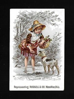 Little Girl & Her Jack Russell Terrier-1880s Victorian Trade Card