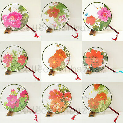 12pcs Oriental Chinese Spring Silk Floral Paddle Dancing Hand Fans Mixed Pattern