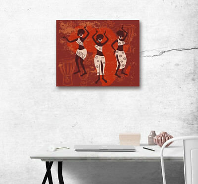 Canvas Print African Tribe Women Drum Wall Modern Art Poster Home Decor Painting