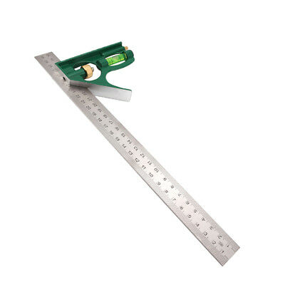 12-Inch Combination Square Ruler Measuring Ruler Straight Protractor -Green