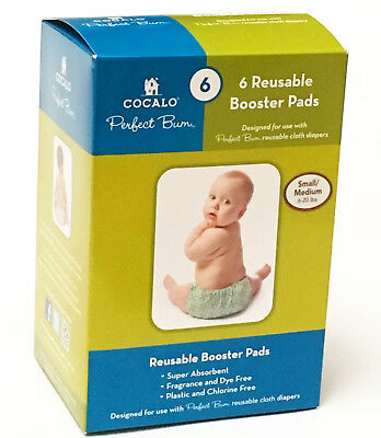 6 PC COCALO Perfect Bum Reusable Booster Pads Liners Cloth Diapers SMALL MEDIUM