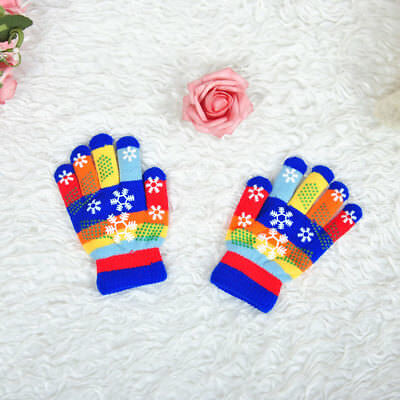 Snowflake Children Girl Boy Kids Stretchy Knitted Winter Ski Gloves Mittens