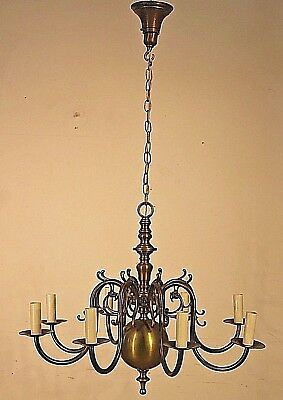 Large antique brass 8 arm chandelier Dutch baroque big French Provincial light