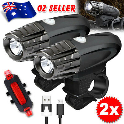 2Pcs USB Rechargeable LED bicycle bike light Waterproof Front Rear Tail Lamp Set