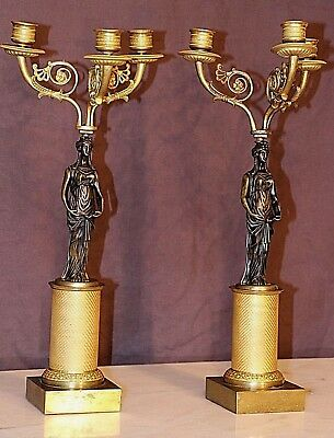 Antique French Empire ormolu candelabra gilt bronze caryatid candlestick lamps