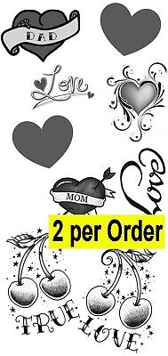 2 Love Heart Temporary Fake Tattoos Waterpoof Mom Dad affection Body Transfer