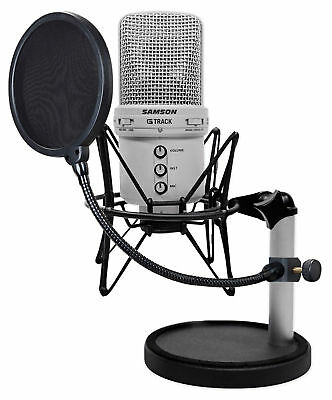 Samson G-Track Recording Podcast USB Microphone+Interface+Mount+Stand+Pop Filter