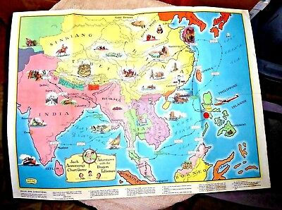 Vintage Cartoon Map Asia Borneo Ceylon China Tibet Dragon Talisman By Arbo 1936