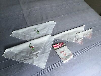 5 VINTAGE EMBROIDERED White Cotton HANDKERCHIEFS 2 with Pink Lace Edging